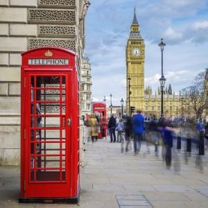 Symboler på London; Rød telefonboks og Big Ben